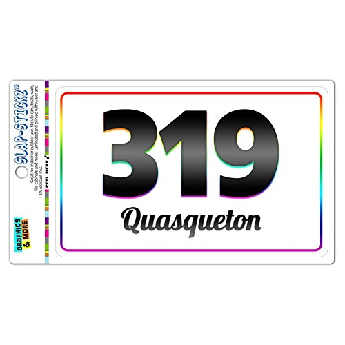 Area Code Rainbow Window Bumper Laminated Sticker 319 Iowa IA Oran - Welton - Quasqueton