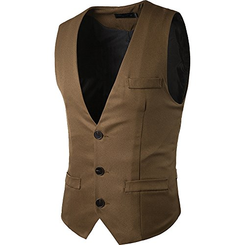 Cottory Men's Top Designed V-neck Sleeveless Casual Slim Fit Skinny Dress Vest Waistcoat Brown ()