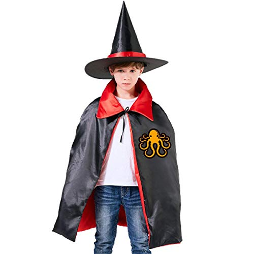 Halloween Children Costume Yellow Octopus Wizard Witch Cloak Cape Robe And Hat Set -