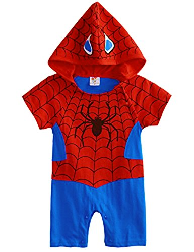Baby Spiderman Costume (Baby Superhero Jumpsuit With Removable Cape (0-3 Months, Spiderman2))