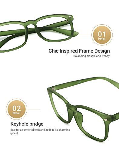 8a1d6b3428 TIJN Unisex Non-Prescription Eyeglasses Glasses Clear Lens Square Eyewear  Grace Green Frame