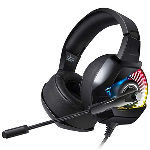 KEMANDUO Gaming Headphones, Noise-Cancelling Microphone And Surround Sound Gaming Headphones, RGB Lights, Soft And…
