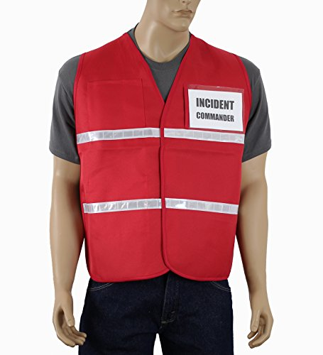 Safety Depot Incident Command Vest Multiple Colors, Clear Pockets for Laminated Inserts (Inserts Not Included) Open Sides & Hi Visibiltiy Reflective tape IC100 (Red, Large/XL) IC100 (Ems Rescue Vest)