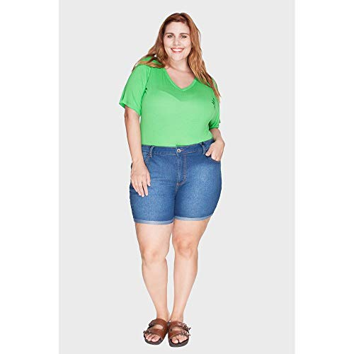 Shorts Barra Virada Plus Size Azul-48