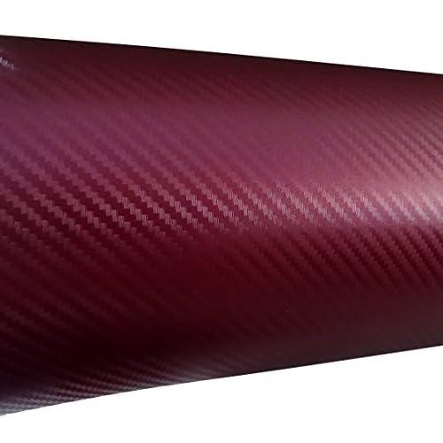 Aerzetix: 127/75cm film adhésif vinyle fibre de carbon rouge bordeaux thermoformable C17205