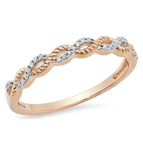 (Dazzlingrock Collection 0.06 Carat (ctw) 14K Round Diamond Ladies Bridal Wedding Band Swirl Ring, Rose Gold, Size 7)