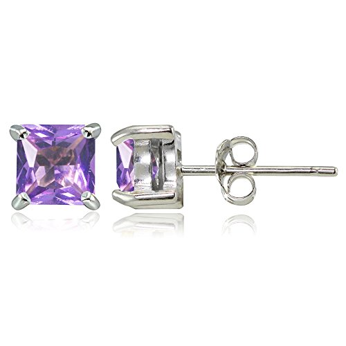 Sterling Silver Simulated Amethyst 5mm Princess-cut Stud Earrings