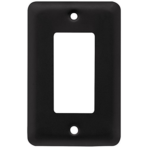Franklin Brass W10251-FB-C Stamped Round Single Decorator Wall Plate/Switch Plate/Cover, Flat Black ()