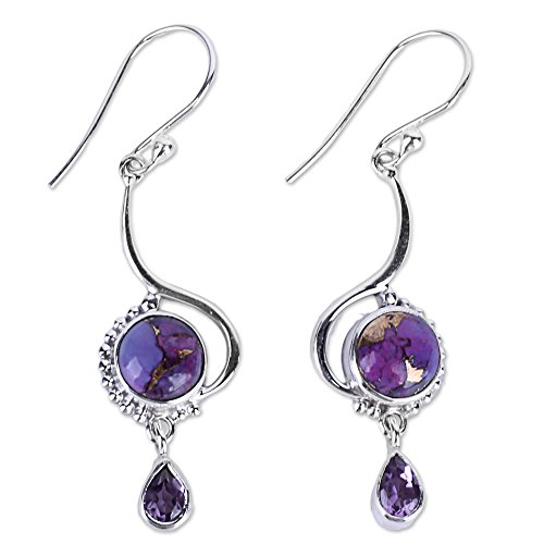 - NOVICA Multi-Gem Reconstituted Turquoise .925 Sterling Silver Dangle Earrings 'Sunny Lilac'