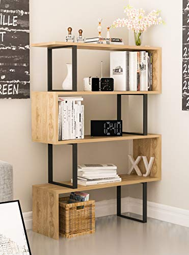 Modern Etagere - Decorotika Adriana 4-Shelf Geometric Modern Industrial Etagere Bookcase Bookshelf Shelving Unit (Black and Oak)