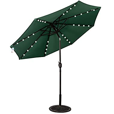 Sundale Outdoor Solar Powered 32 LED Lighted Outdoor Patio Umbrella with Crank and Tilt, 9 Feet, Green