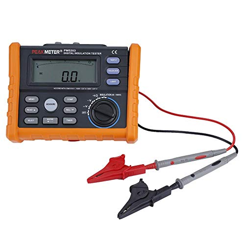Akozon Earth Resistance Tester PM5203 Digital Insulation Resistance Tester Megohmmeter AC DC Voltage Tester Analog Display 50-1000V Meter Automatic Calculation