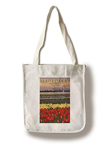 Traverse City, Michigan - Tulip Fields (100% Cotton Tote Bag - - Shopping Michigan City Traverse