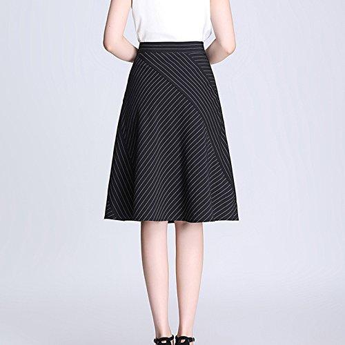 Sin Del Vestido Ajuste Dobladillo Línea Una Summe Raya Niais Elasticidad Black Lápiz Cintura Falda Dividir Mujer Alta Cómodo La De wIPFfBq
