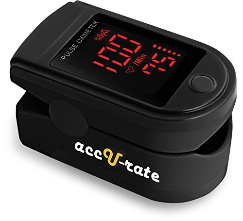 Acc U Rate Pro Series CMS 500DL Fingertip Pulse Oximeter Blood Oxygen Saturation Monitor with silicon cover, batteries and lanyard (Mystic Black) (Finger Oxy Meter compare prices)