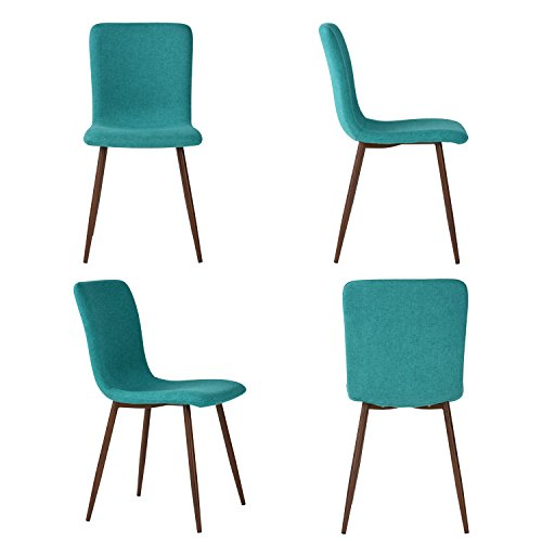 Set of 4 Dining Chairs Coavas Fabric Cushion Kitchen Chairs with Sturdy Metal Legs for Dining Room, Green by Coavas (Image #2)