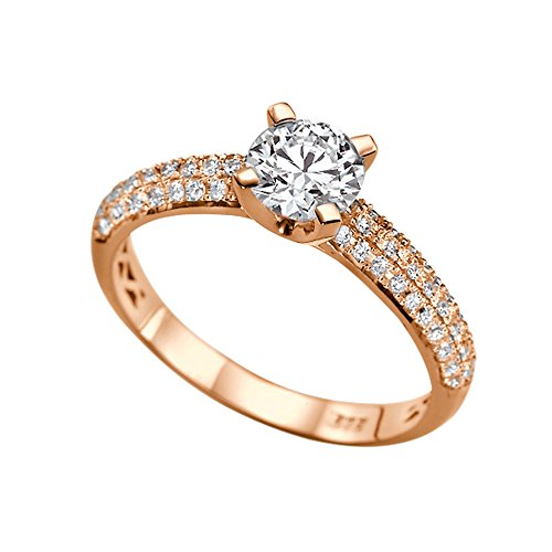 1.30ct Lab Created White Sapphire and Diamonds Ring Rose Gold 14K 3 row Round by Diamond Mine