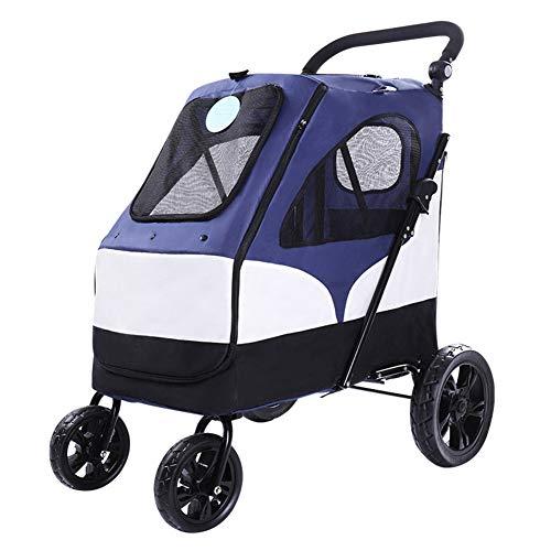 ZZXPET Large Pet Stroller - Folding Dog Cat Carrier Cart Pet Travelling Buggy Stroller Bag Pet Carriage House Outdoor Dog Walking Shopping Kennel Pram Bearing 55 Kg,Red