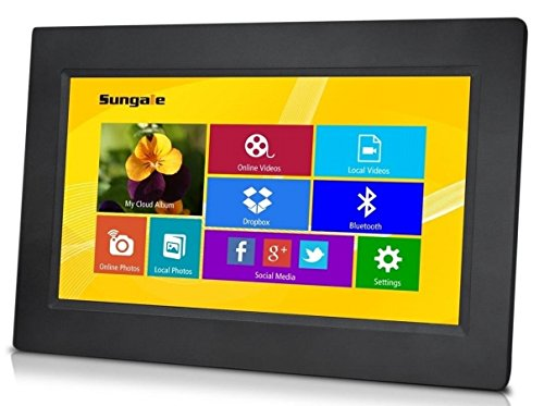 Sungale CPF1032 10'' Smart Wi-Fi Cloud Digital Photo Frame with touch screen operation, free Cloud storage, real-time photos, Movie, Social Media, Browser, all apps by Sungale