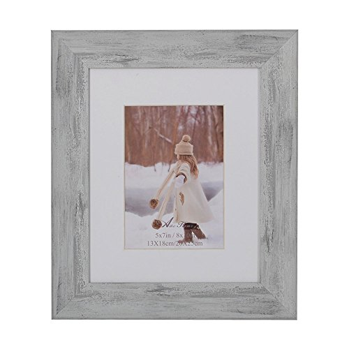 Aike Home Photo Picture 8x10 Inch Glass Size White Wash Frame with Bevel White Mat 5x7 Opening Real Glass and Table Top with Easel Wall Mounting 1 Pack Display Horizontally or Vertically ()