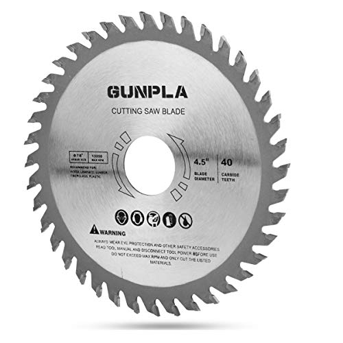 Gunpla 4-1/2-inch 40 Tooth Alloy Steel TCT General Purpose Hard & Soft Wood Cutting Saw Blade with 7/8-inch Arbor