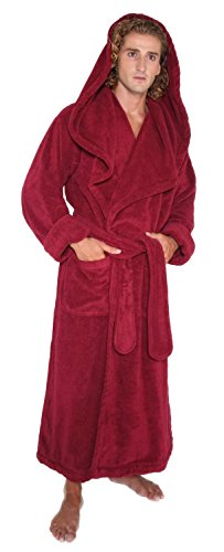 Arus Men's Monk Robe Style Full Length Long Hooded Turkish Terry Cloth Bathrobe, Large, Burgundy