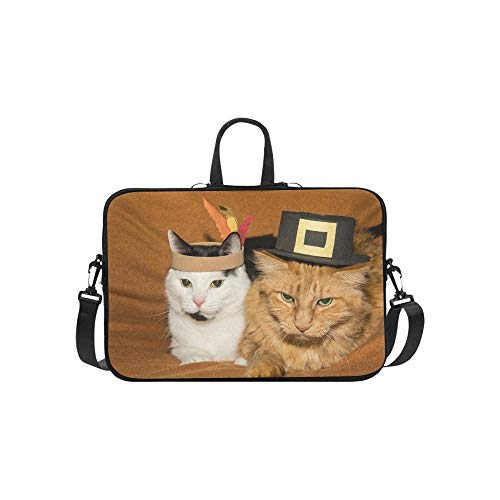 Laptop Bag Pink Feathers and Cute Cats Shoulder Bag Crossbody Bag Adjustable for Men Women College Students Teens Business Travelling Classes University