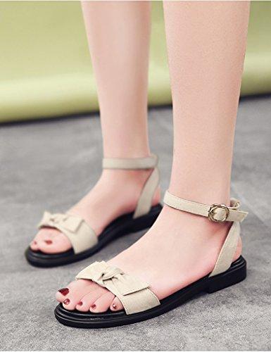 39 Freizeit Student ZCJB Römische Niedrige Größe offener Sandalen mit Pink Spitze Farbe Sommer Damenschuhe Beige Absatzschuhe XSwq6