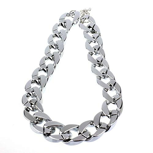 (US Warehouse - 1PC Punk Style Necklace for Woman Boho Shiny Link ID Celebrity Style Alloy Choker Necklace Chain Jewelry - (Metal Color: Silver))