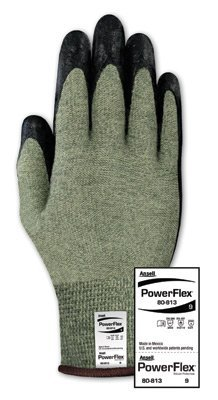 (Ansell 80-813-10 Size 10 PowerFlex 80-813 13 Gauge Medium Duty Special Purpose Cut and Flame Resistant Foam Palm Coated Work Gloves with Dupont Kevlar Liner and Knit Wrist, Plastic, 1