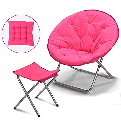 Large Chair Moon Folding Recliner Lazy Dormitory Lunch Break Couch Sun Lounger Leisure (Color : Pink+Cushion+Footstool)