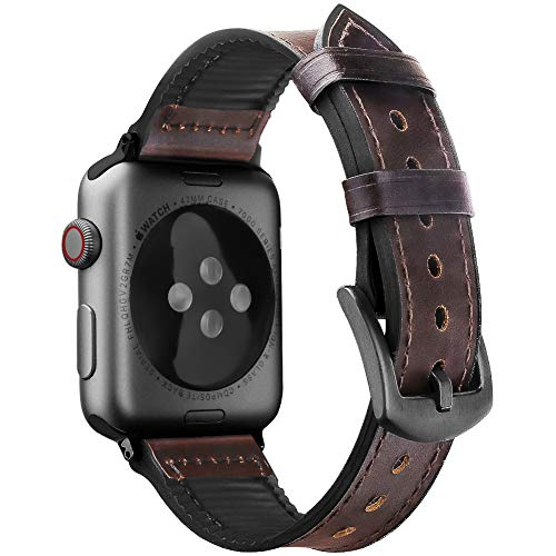 Oitom Leather Silicone Sports Band Compatible with Apple Watch 42mm 44mm, Hybrid Sweatproof Replacement Straps Compatible with iWatch Series 4 3 2 1 Men (S/M/L Coffee Brown)