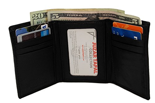 RFID Minimalist Theft Protection Men's Black Thin & Soft Leather Tri-fold Wallet JTC-53-31 RFTF Signal Blocking 2 Bill Slot Thump ID 8 Card slots 2 Side slips.