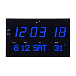 hito Extra Large Oversized LED Wall Clock w/ Date, Week, Indoor Temperature, Brightness Adjustable, Memory Function, Adapter Included (Blue)