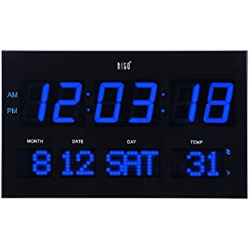 Charming Hito 14.2u201d Large Oversized LED Wall Clock Seconds Date Day Indoor  Temperature Adjustable Brightness Memory Function Adapter Included  Decorative For Living ...