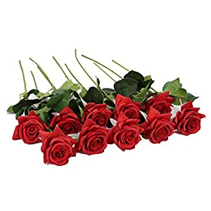 Duovlo Artificial Flower Rose Real Touch Long Stem for Wedding Baby Shower Table Centerpieces Outdoor Craft Decoration,Pack of 10 (Red Flower) 65