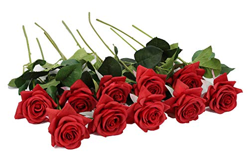 (Duovlo Artificial Flower Rose Real Touch Long Stem for Wedding Baby Shower Table Centerpieces Outdoor Craft Decoration,Pack of 10 (Red Flower))