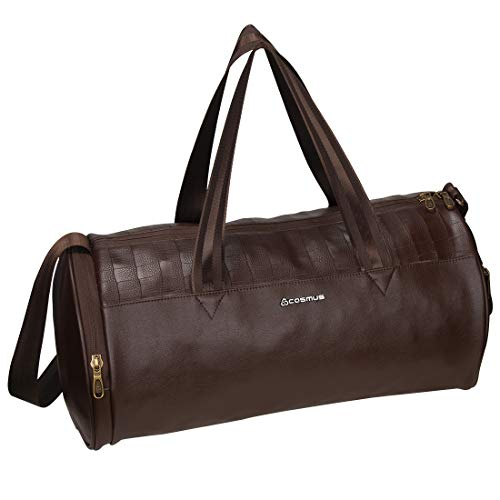 Cosmus Athens Gym Bag – Premium Quality Brown Leatherite 22 Litre Gym Duffle Bag with Shoe Compartment