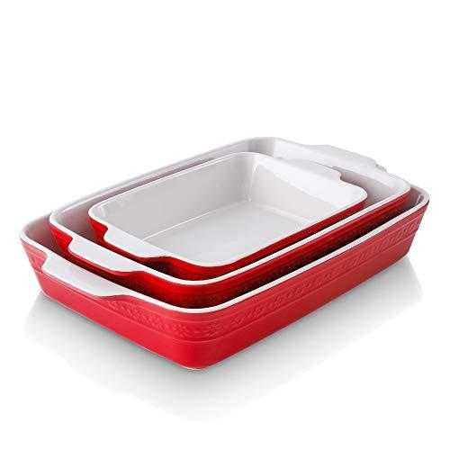 KOOV Bakeware Sets, Ceramic Baking Dish Set, Rectangular Lasagna Pan, Casserole Dish Set for Cooking, Cake Dinner…
