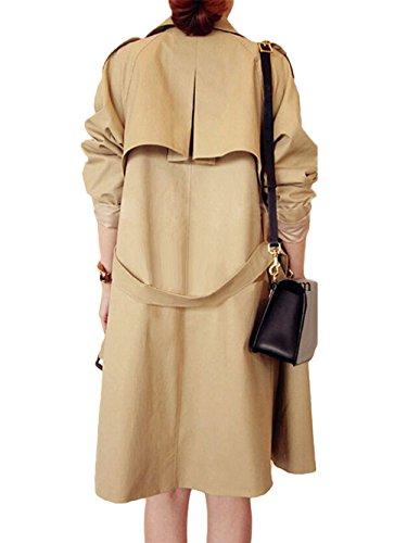Giacca I Donna Tyaw Beige Cappotto A Colore Vento Lungo Cotone Giacche Pulsanti Di Ortografico Stile tPwwdqH