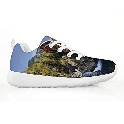 (TecBillion Landscape Comfortable Running Shoes,Secluded Wooden Cabin in Woods River Waterfall Forest Mill Mountain Pine Trees for Kids)