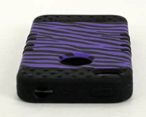 SHOCKPROOF HYBRID CELL PHONE COVER PROTECTOR FACEPLATE HARD CASE AND BLACK SKIN WITH MINI STYLUS PEN. KOOL KASE ROCKER FOR APPLE IPHONE 4 4S ZEBRA BK-TE542