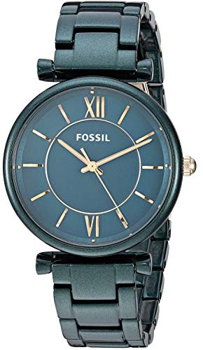 Fossil Women's Carlie Quartz Stainless-Steel-Plated Strap, Green, 15.8 Casual Watch (Model: ES4427)