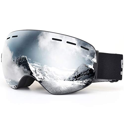 (SPOSUNE OTG Ski Goggles Snow Snowboard Goggle Over Glasses with Anti-Fog Spherical Dual Interchangable Lens for Men Women Youth Skiing Snowmobile Eyewear & Helmet Compatible, UV400 Protection)