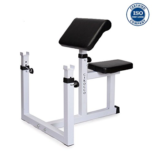 Schmidt Fitness Preacher Curl Weight Bench Press Seated Arm Rest Curling Biceps Barbell Dumbbell Adjustable Seat Bar Machine Isolated Station For Commercial Home Gym Fitness Exercise Training Workout by Cirocco
