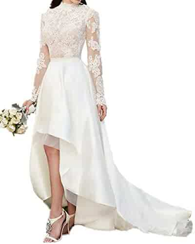 41f98825688 DreHouse Women s Vintage Beach Wedding Dresses Hi-Low Bridal Gowns With  Long Sleeve