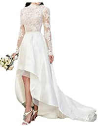 Womens Vintage Beach Wedding Dresses Hi-Low Bridal Gowns With Long Sleeve