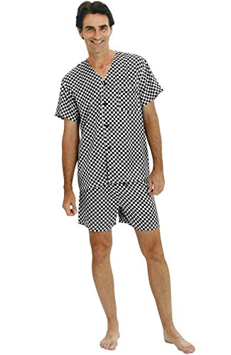 Alexander Del Rossa Mens Satin Pajamas, Short V-Neck Pj Set, Medium Black and White Checked (A0613P57MD)