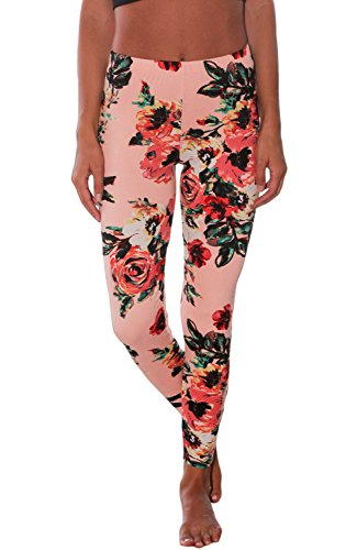 Nicetage Women's Full-Length Printed Soft Microfiber Legging 77021(Pink, XL) Pink Floral Leggings