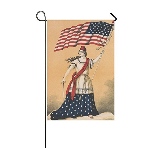 Yard Home Outdoor Decor - 12 x 18 inches Double Sided Polyester Lady Liberty Garden Decor Flag (Lady Liberty Flag)
